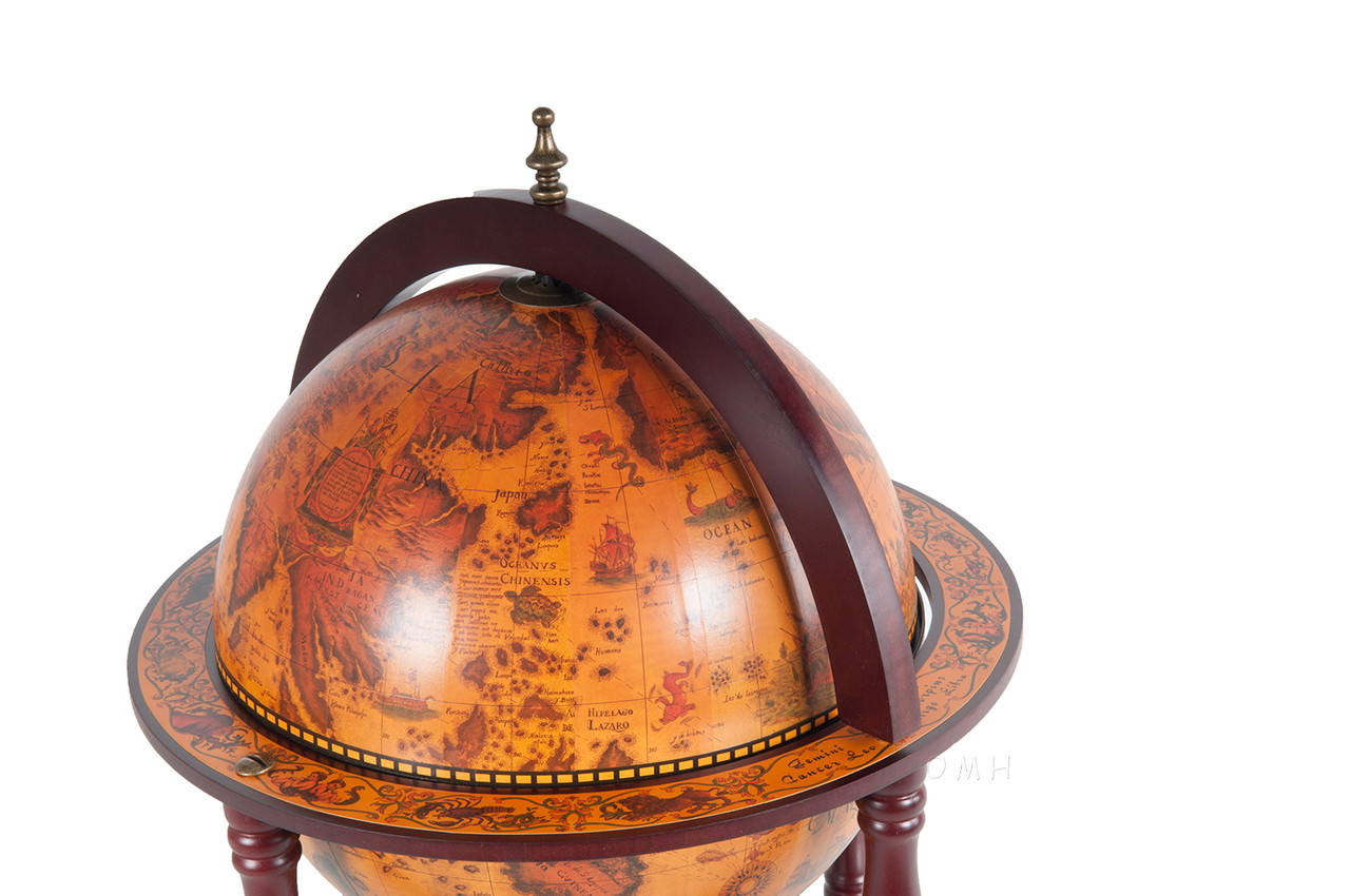 Chess Board Pieces Hidden Table Top Old World Globe
