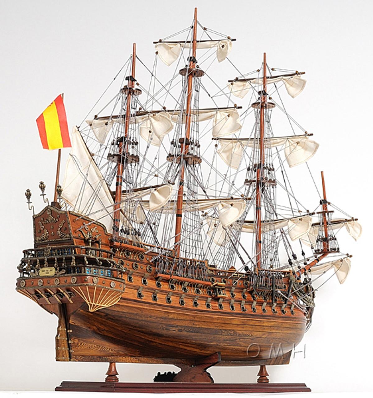 San Felipe Display Case Wooden Tall Ship Model