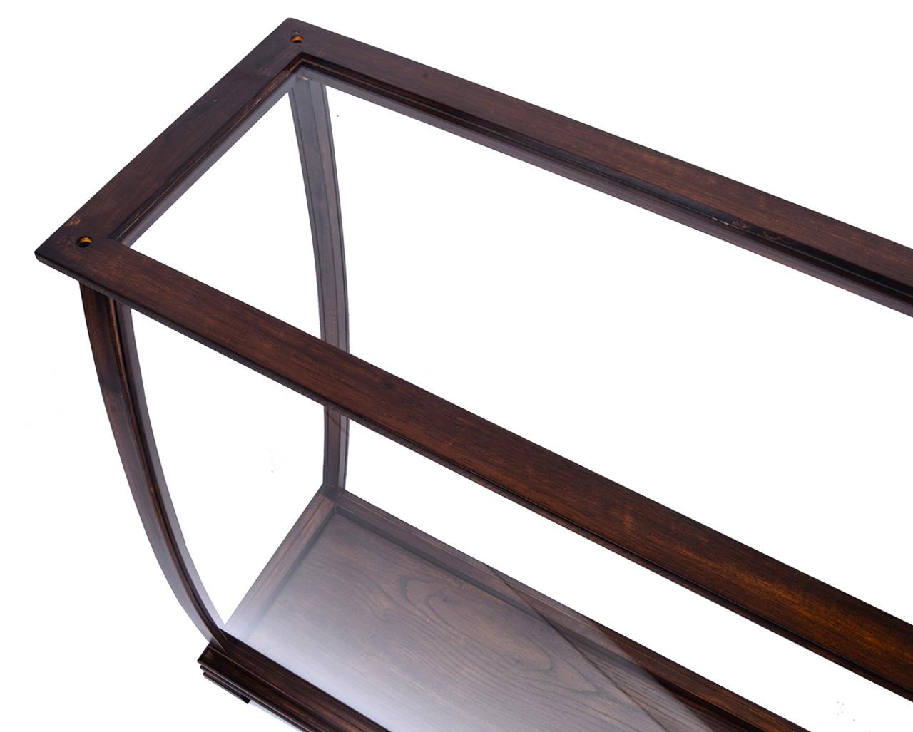 Brown Tall Ship Model Display Case Wood Plexiglass