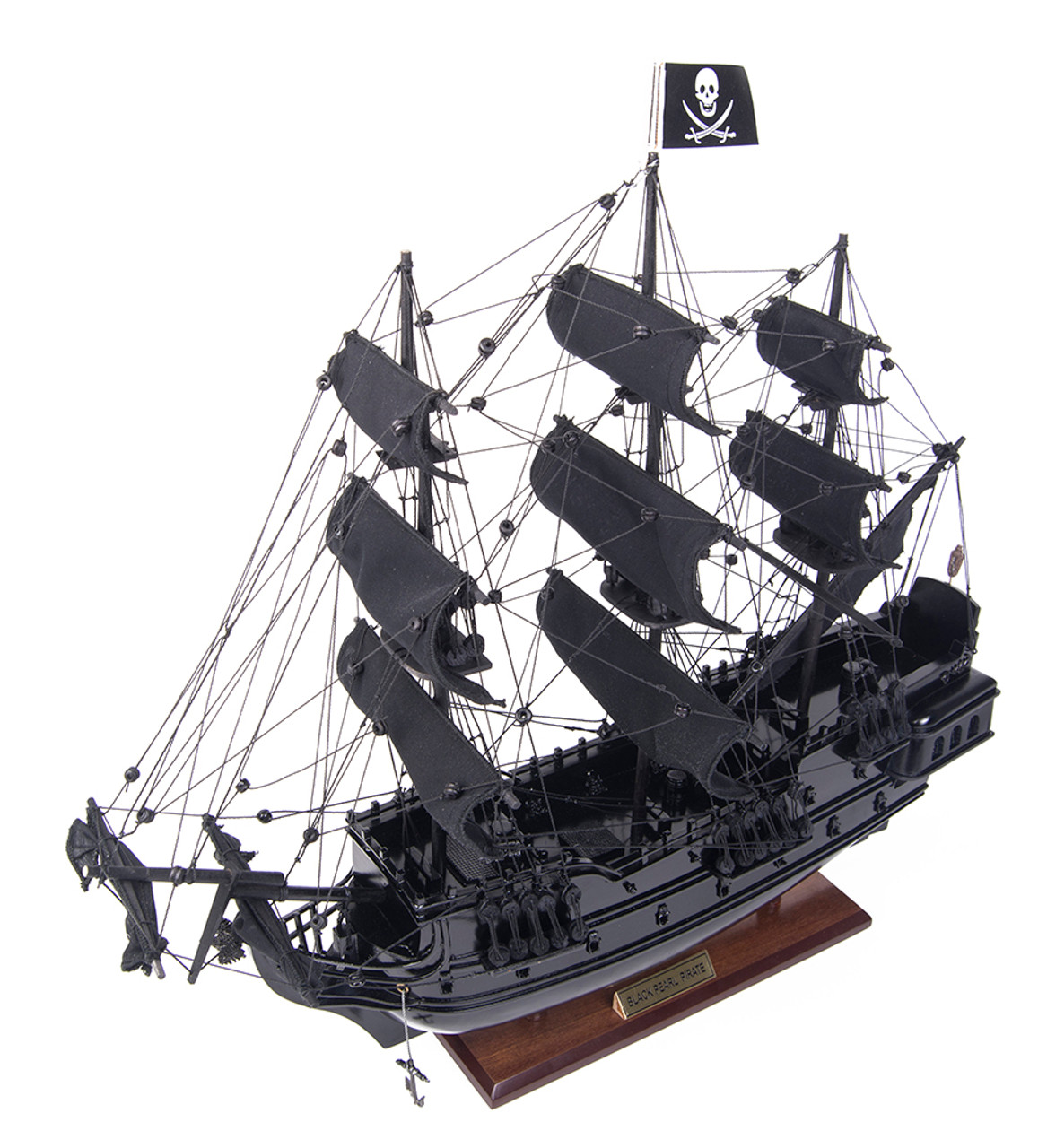 Small Black Pearl Caribbean Pirate Ship Wooden Model
