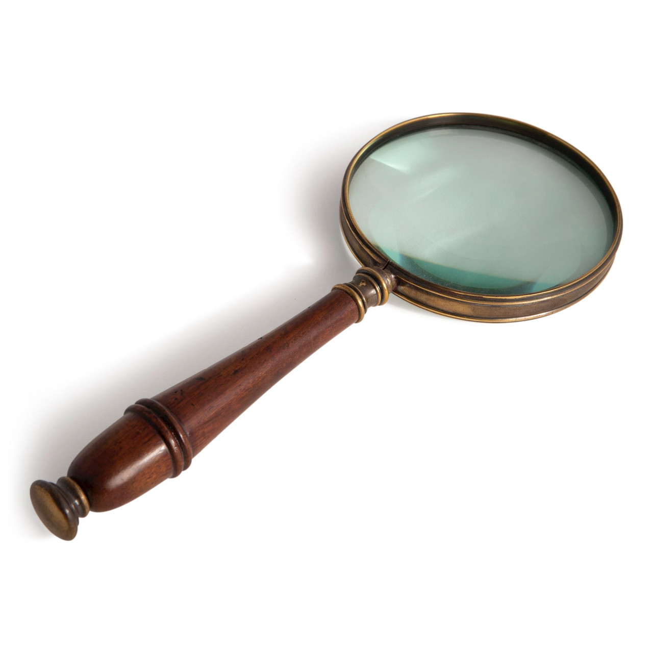 Magnifier Magnifying Glass Bronze Wooden Handle 3x Reading Device