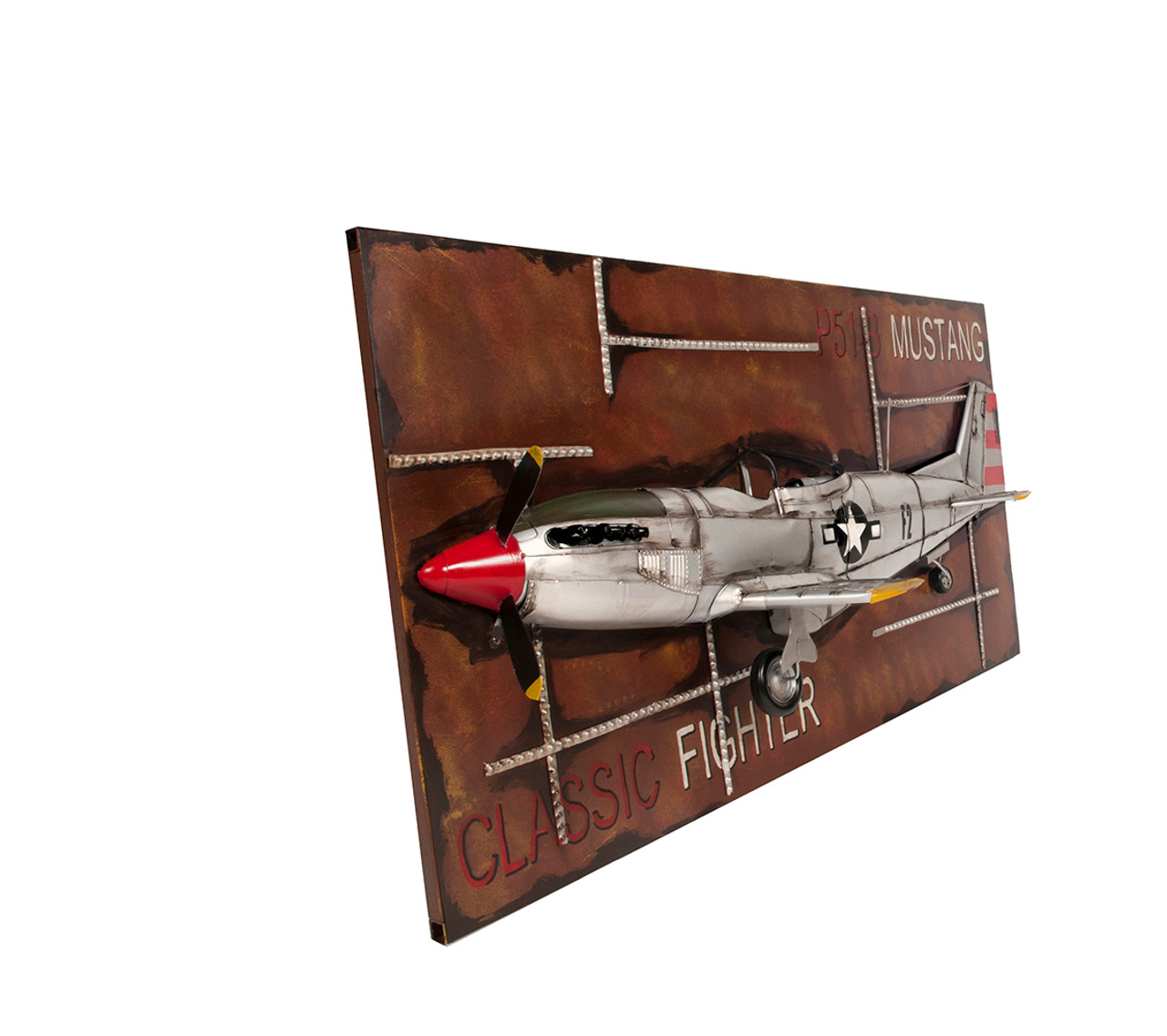 Framed 1943 Mustang P-51B Classic Fighter 3D Model Airplane