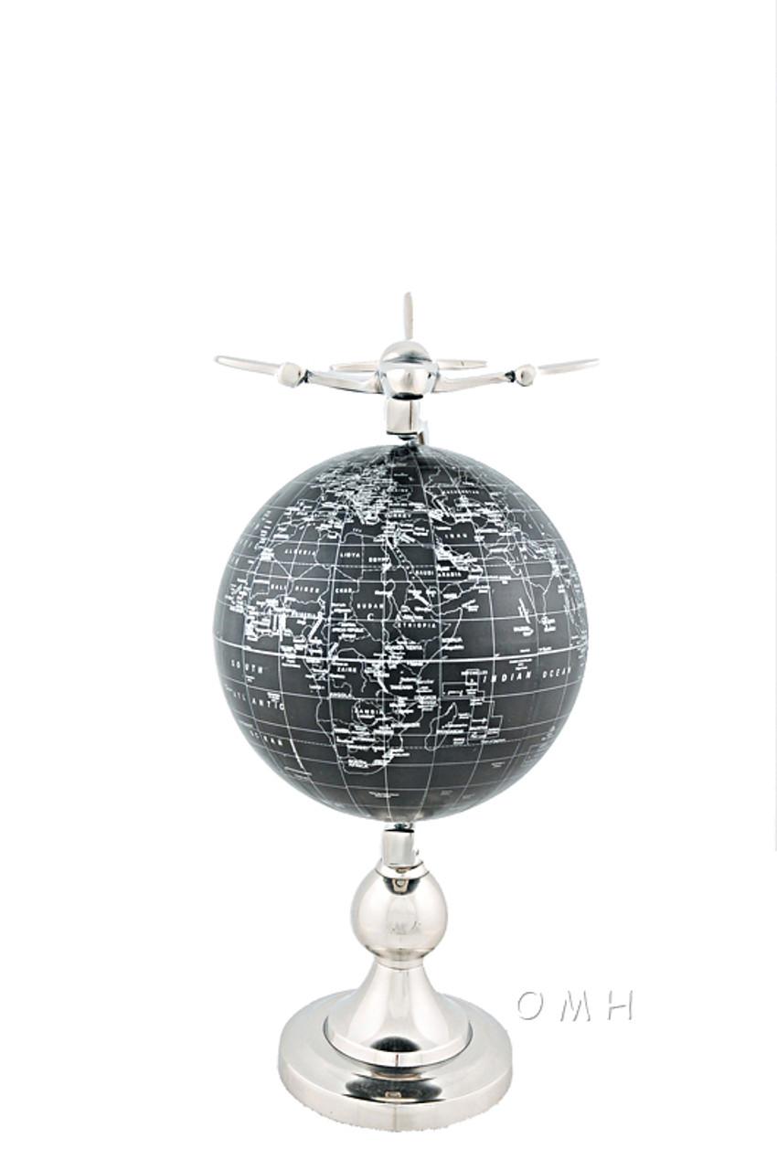 1930s Era Airplane Desktop World Globe Nickel Travel Agent Decor