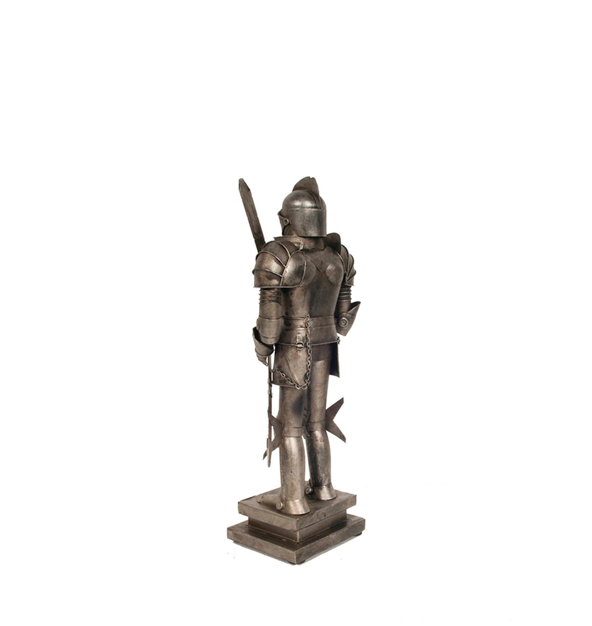 Medieval Knight Suit Of Armor Statue Sword Metal Model Figurine