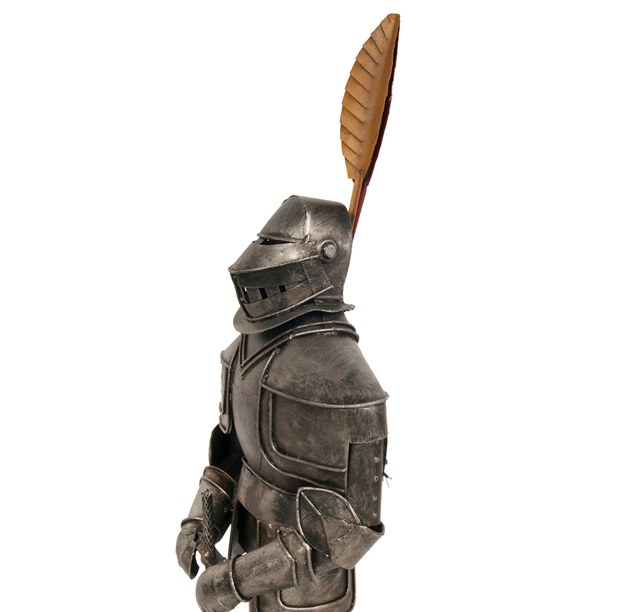 Medieval Knight Suit Of Plate Armor Feather Statue