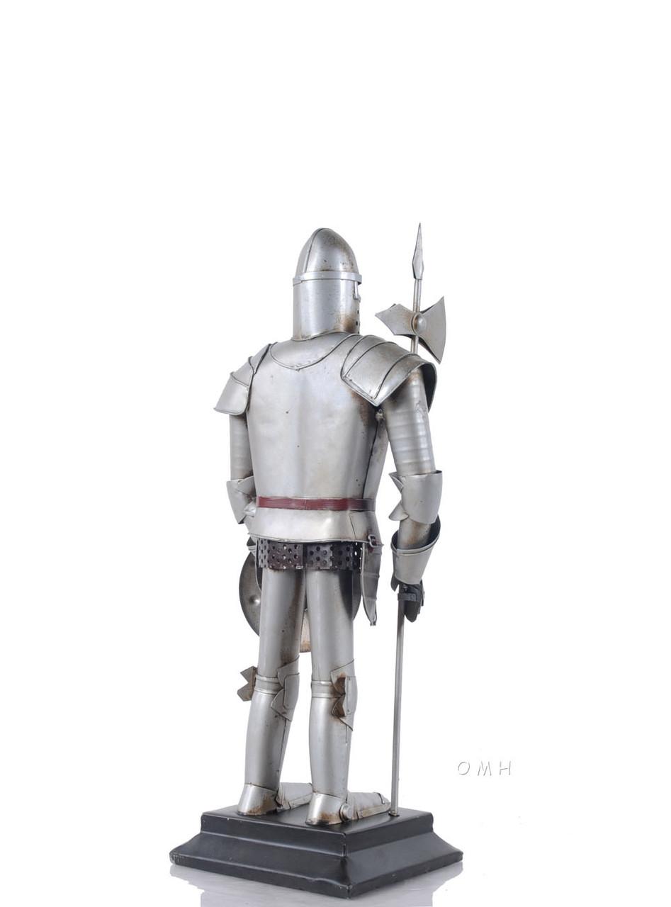 Medieval Knight Suit Of Plate Armor Statue Halberd Metal Model
