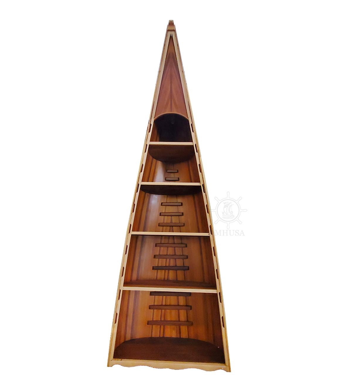 Canoe Bookcase Book Shelf Cedar Furniture Boat Shaped Decor