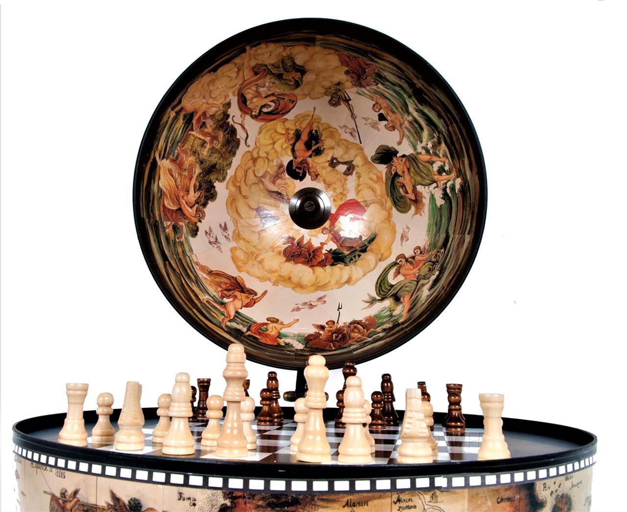 Chess Board Set Pieces Hidden Table Top Globe