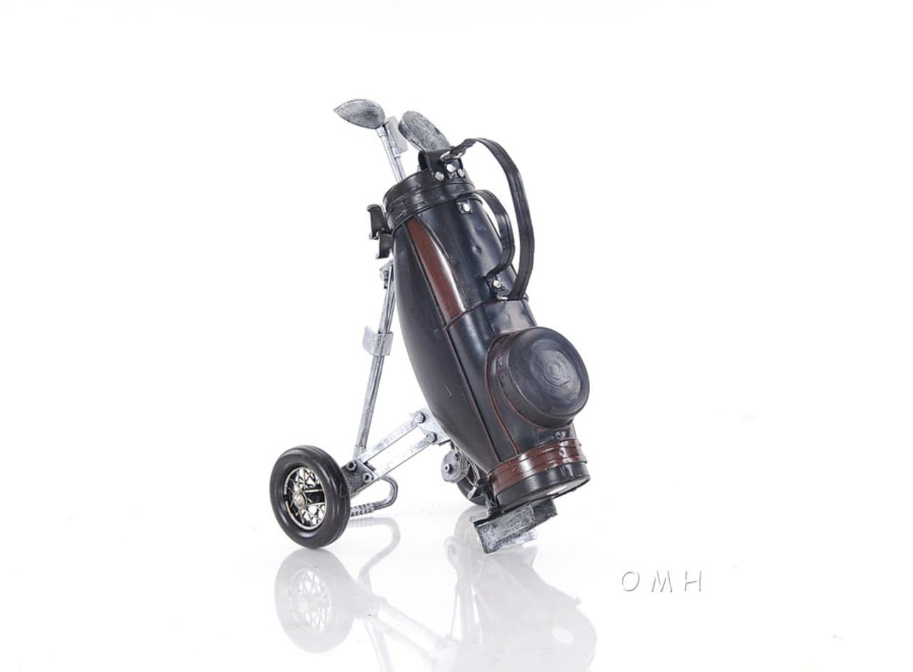 Golf Club Carry Cart Bag Stand Wheels Model Figurine