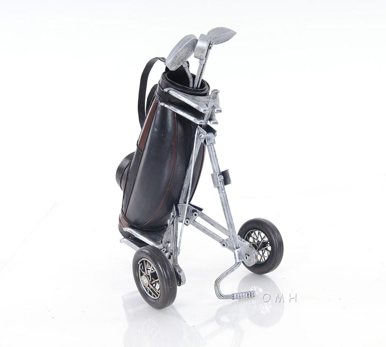 Golf Club Carry Cart Bag Stand Metal Model Figurine