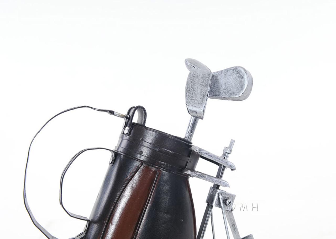 Golf Club Cart Bag Stand Wheels Metal Model Figurine