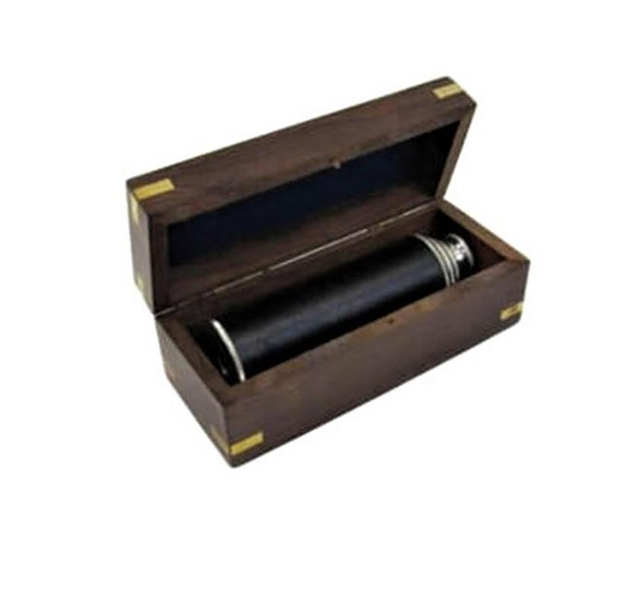 Pirate Spyglass Chrome Leather Wood Case Handheld Telescope