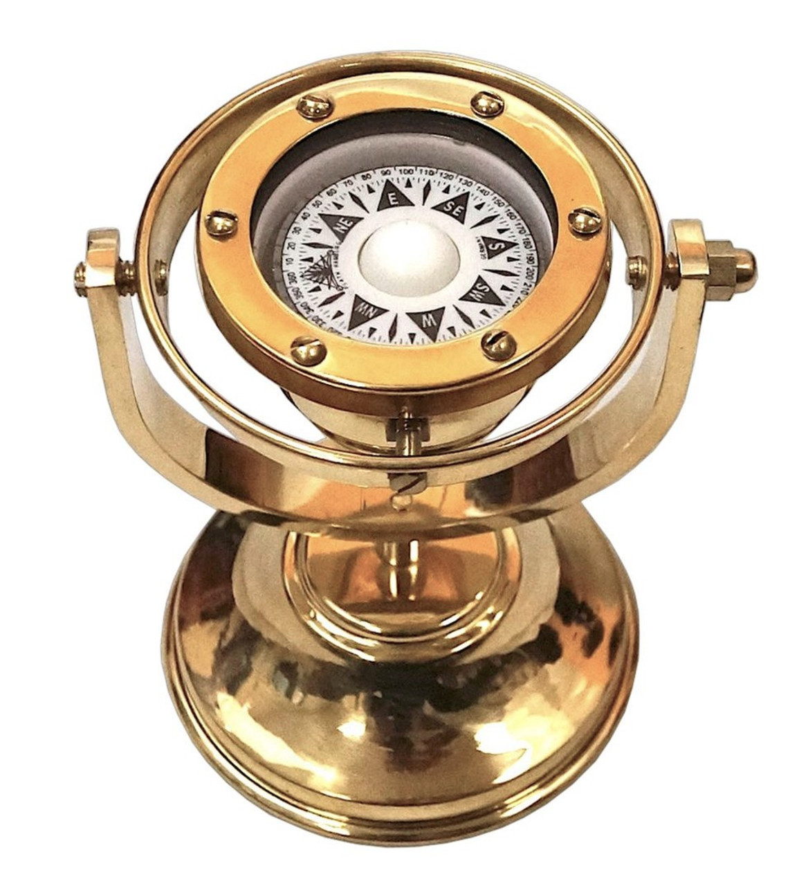 Brass Marine Gimbaled Ship Compass Desk Stand Nautical Decor