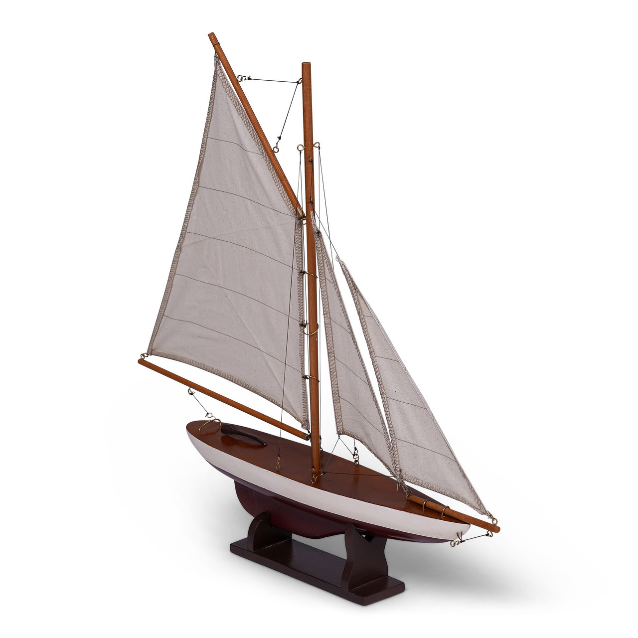 Small Pond Yacht Sailboat Model Wooden Nautical Boat
