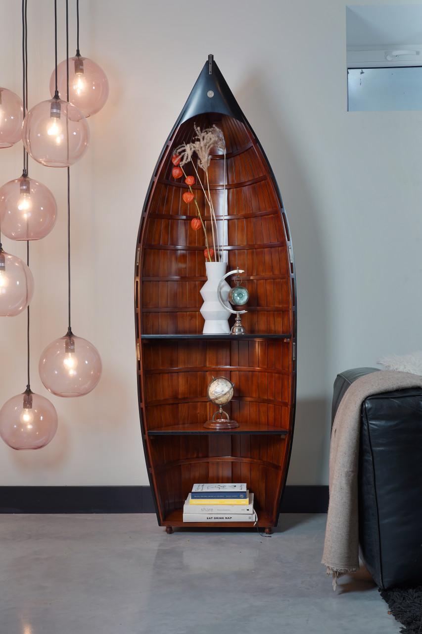 Bosuns Gig Wood Row Boat Bookshelve Nautical Bookcase