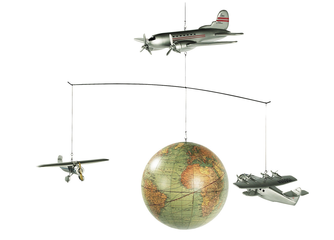 Around the World Airplane Globe Mobile Hanging Aeromobile