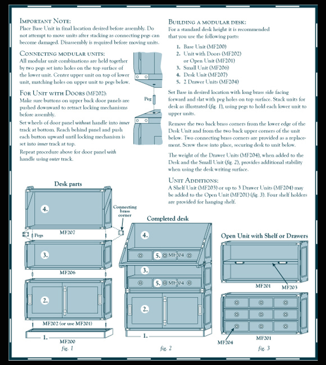 Campaign Style Stacking Unit Drawers Bookcase Instructions