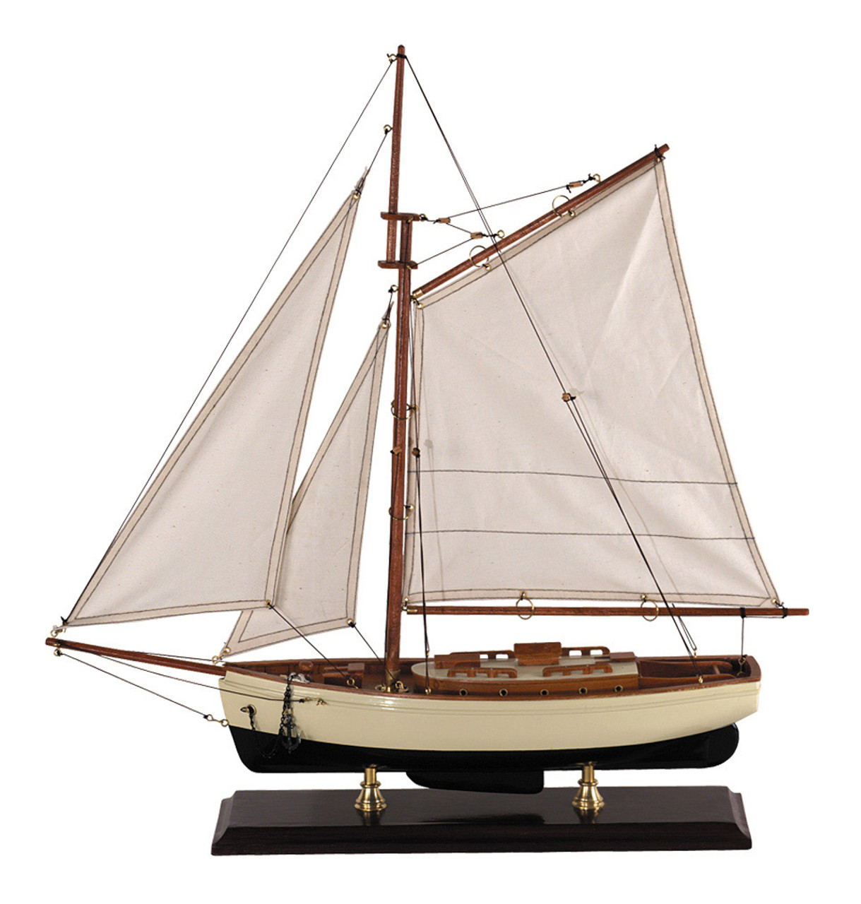1930s Classic Yacht Small Wooden Model Sailboat