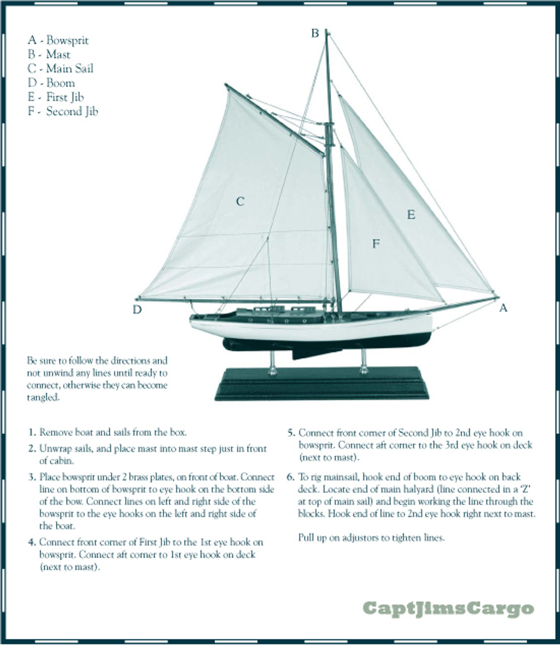 1930s Classic Yacht Small Wooden Model Instructions