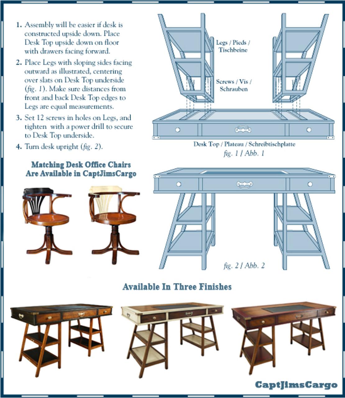 Wooden Navigators Office Desk Black Instructions