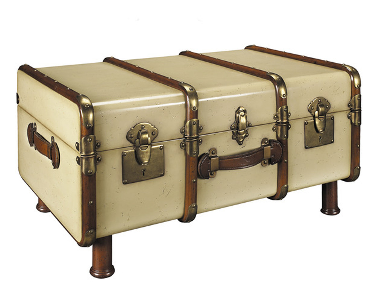 Outstanding Stateroom Travel Steamer Trunk Coffee Table Antiqued Ivory Pdpeps Interior Chair Design Pdpepsorg