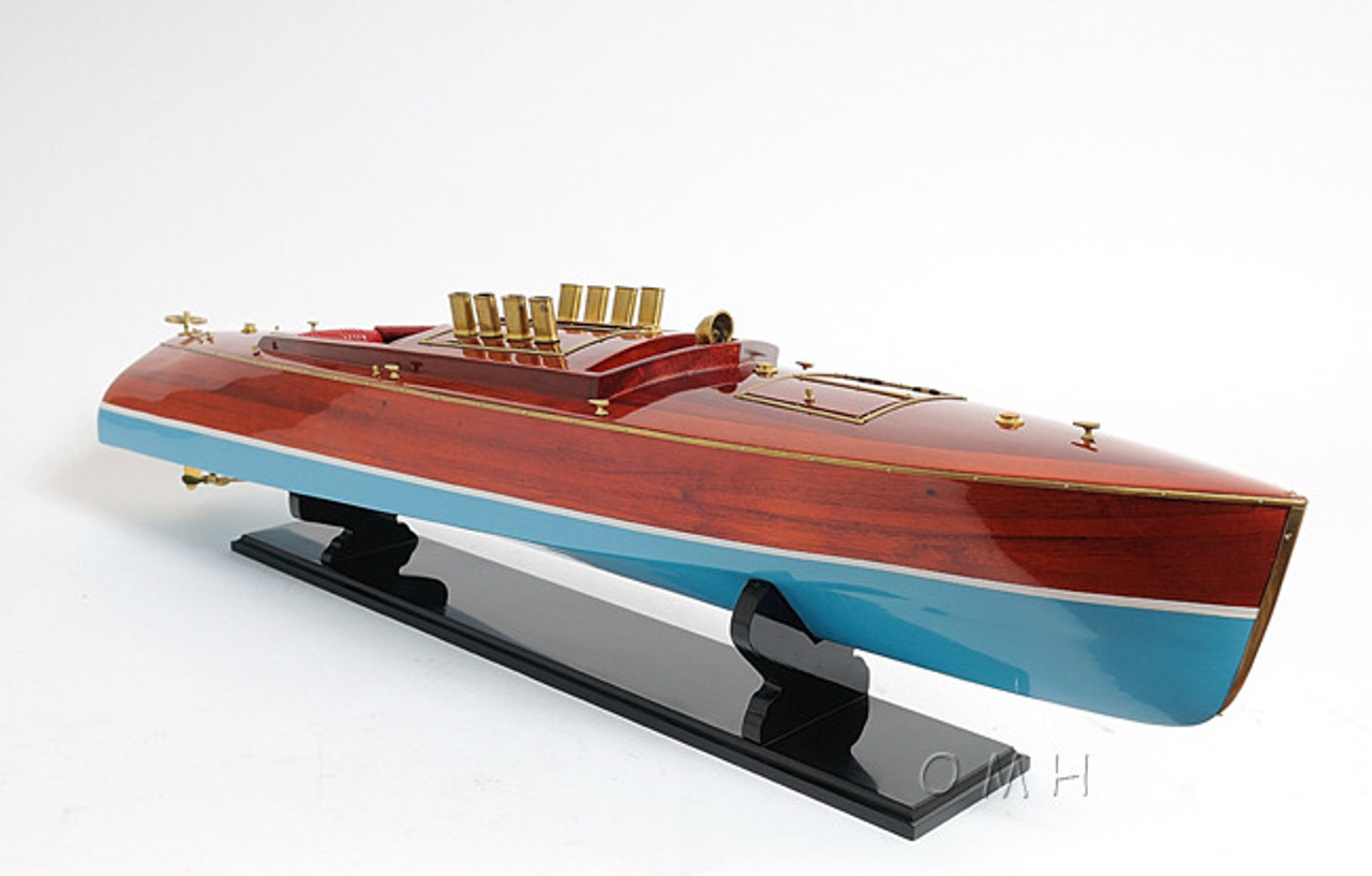 Dixie II Speed Boat Assembled Wood Model Runabout