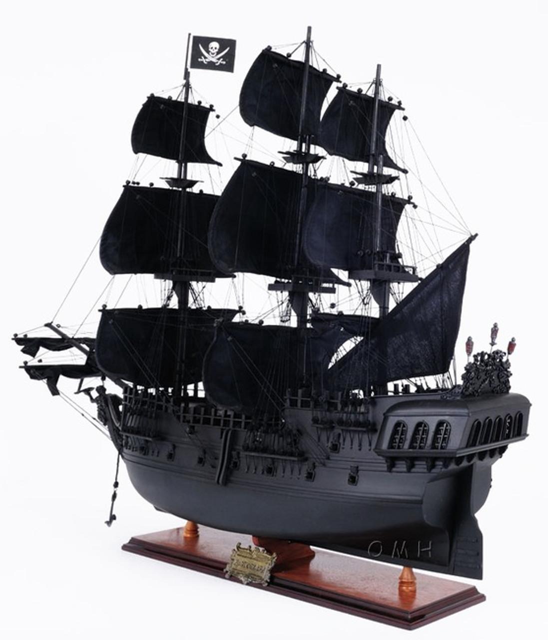 Black Pearl Caribbean Pirate Ship Model Wood