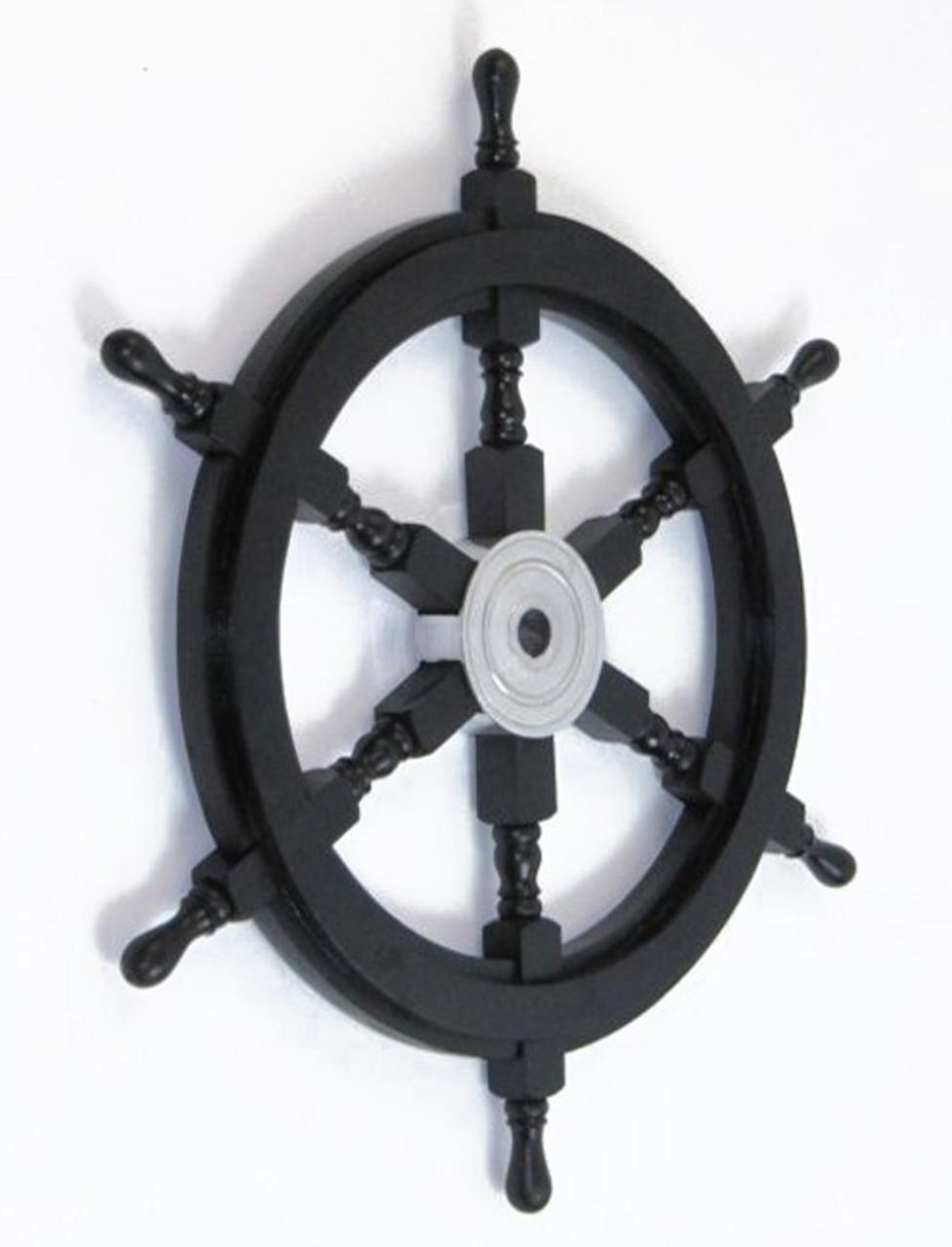 Black Nautical Pirate Ship's Steering Wheel Wooden