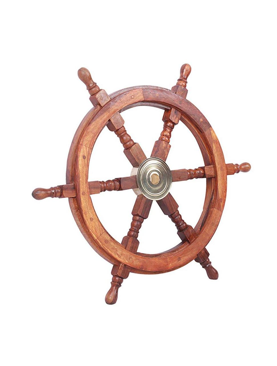 Nautical Teak  Ships Steering Wheel Brass Hub
