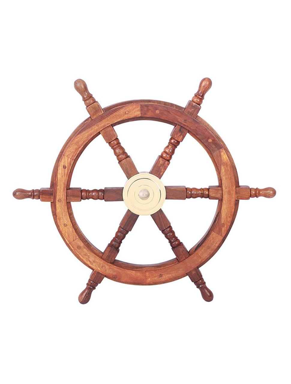 "Boat Ships Steering Wheel 24"" Teak Wood Brass Hub Nautical Decor"