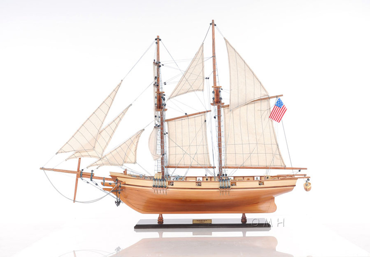 Harvey 1847 Baltimore Clipper Wood Model Privateer Ship