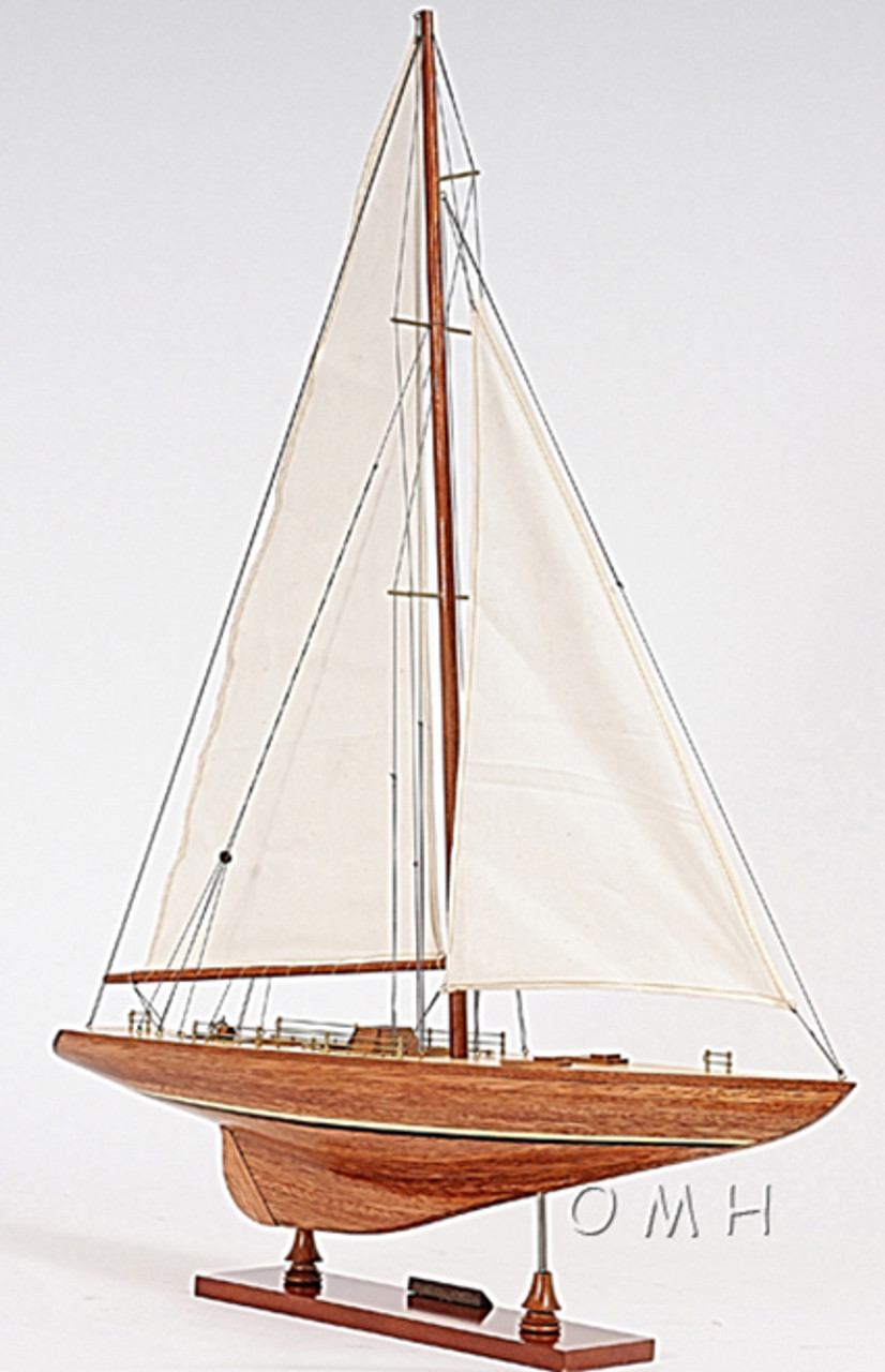 Columbia Yacht Model Americas Cup Wooden Sailboat