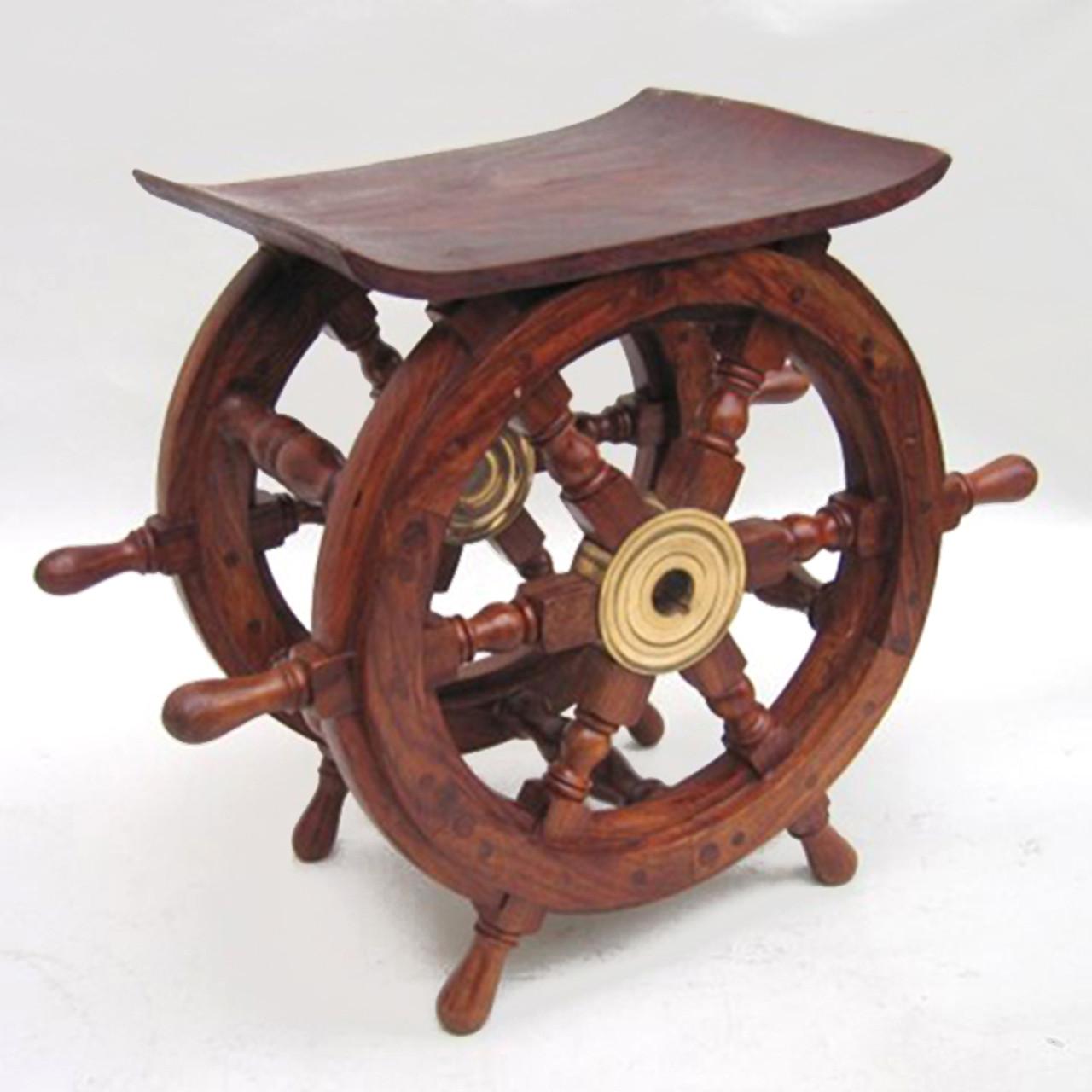 Ships Wheel End Table Teak Nautical Furniture