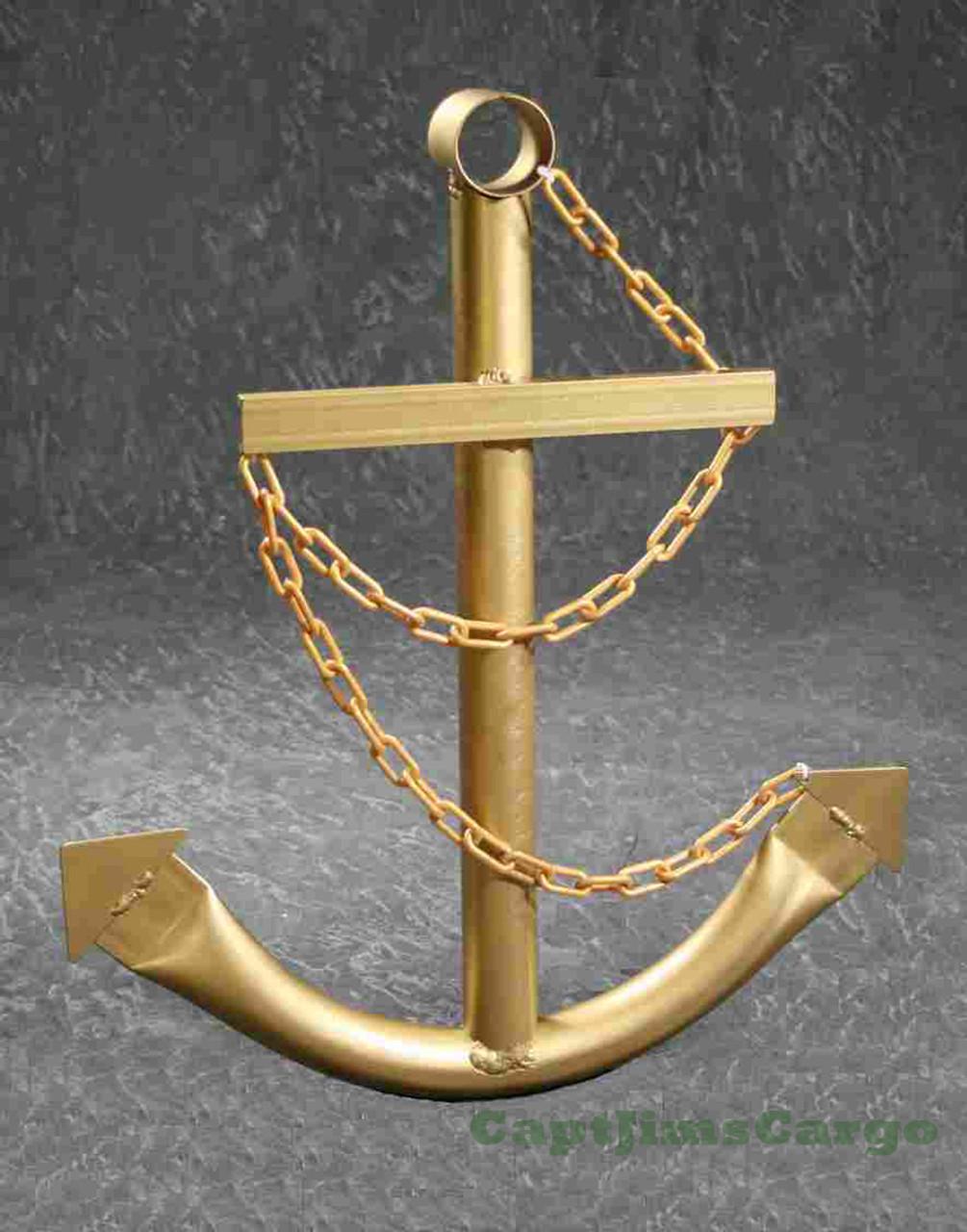 Gold Navy Ships Anchor Metal Wall Decor