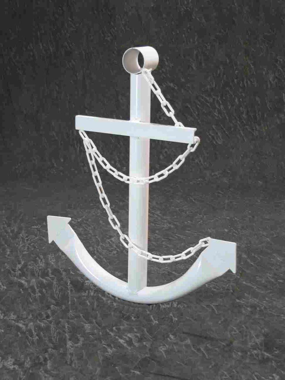 White Navy Ships Anchor Metal Wall Decor
