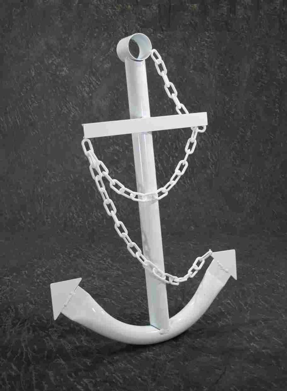 White Ships Anchor Metal Nautical Home Decor