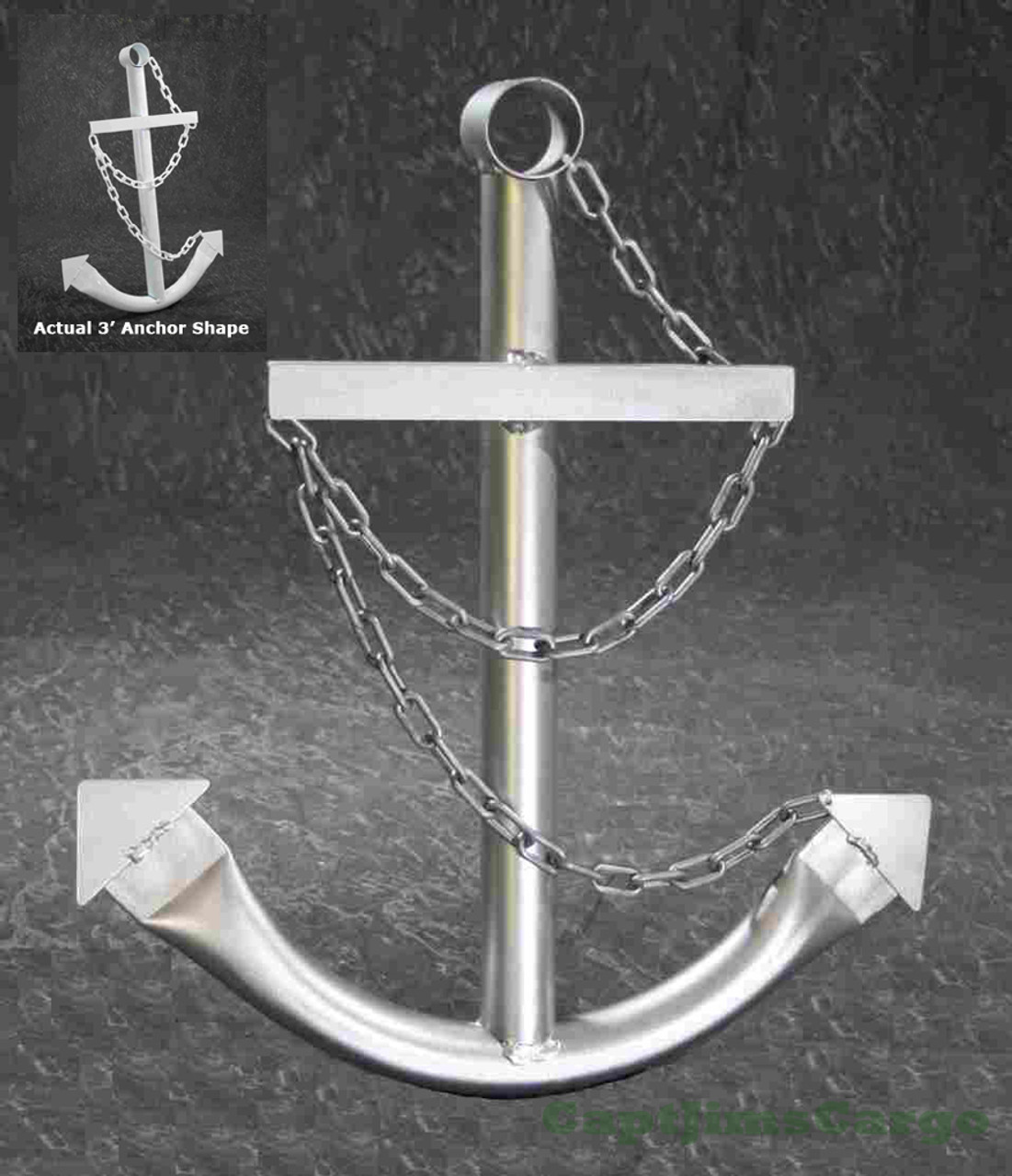 Silver Ships Anchor Metal Nautical Home Decor