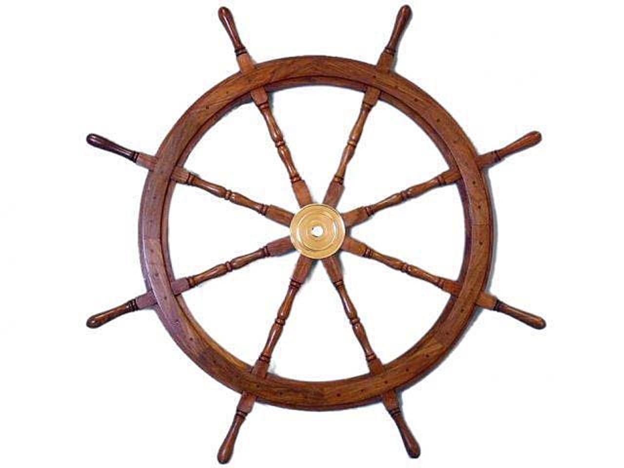 XL Wooden Teak Boat Ships Wheel Brass Center