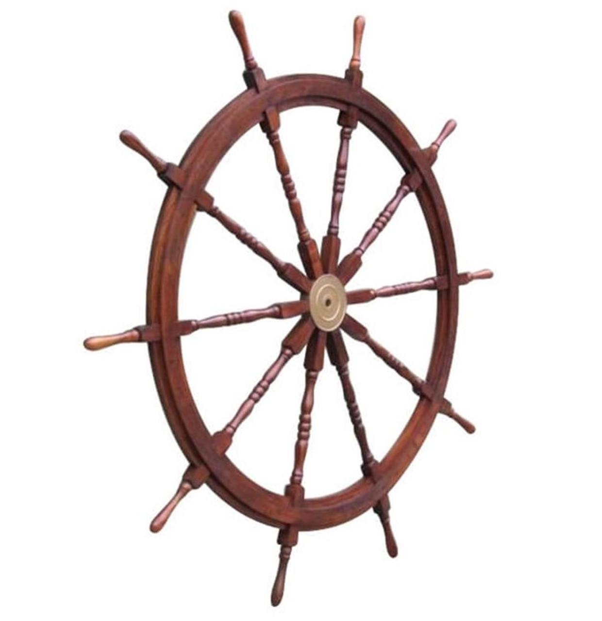 XL Ships Steering Wheel Teak Nautical Yard Decor