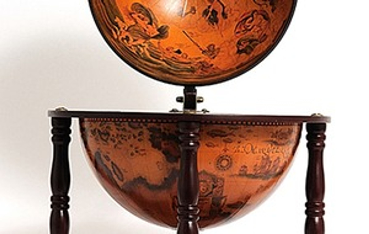 Old World Globe Wood Table Top Bar