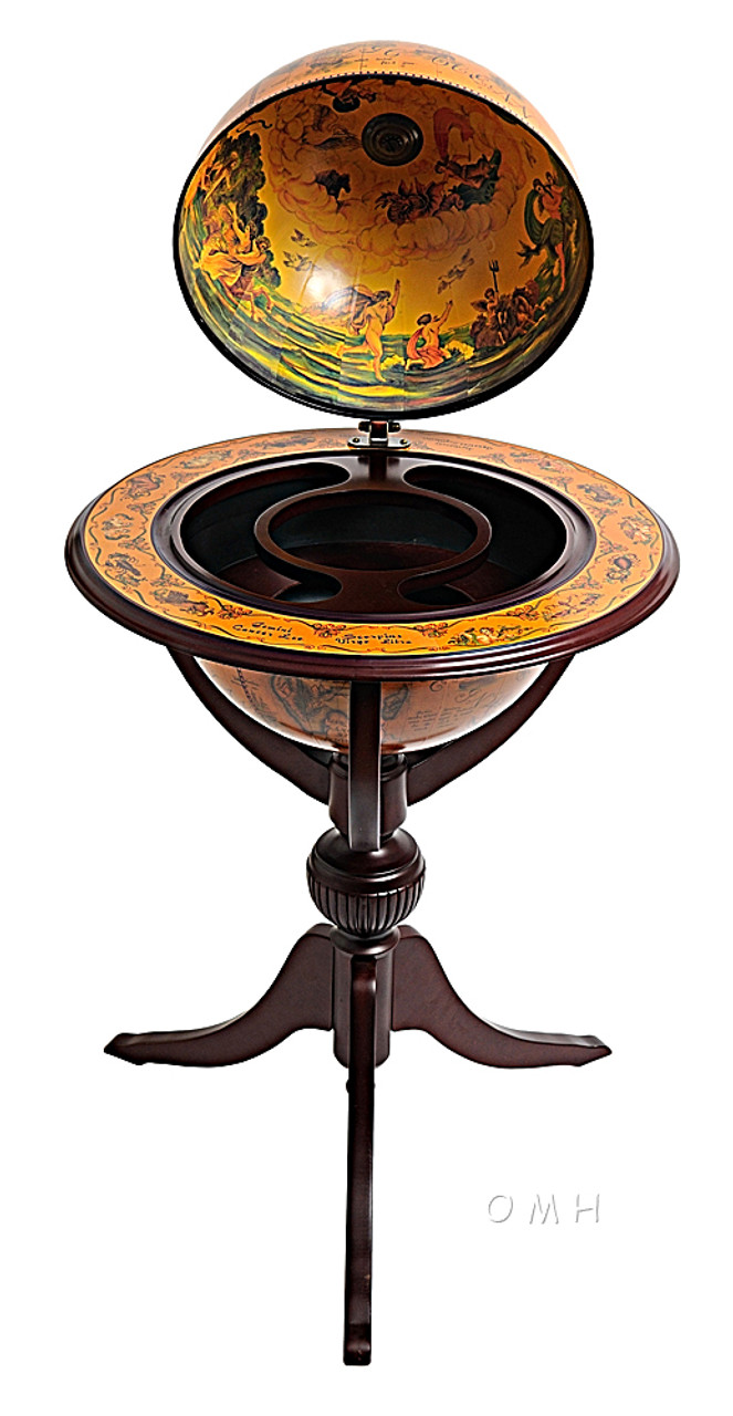 Old World Globe Hidden Bar on Pedestal