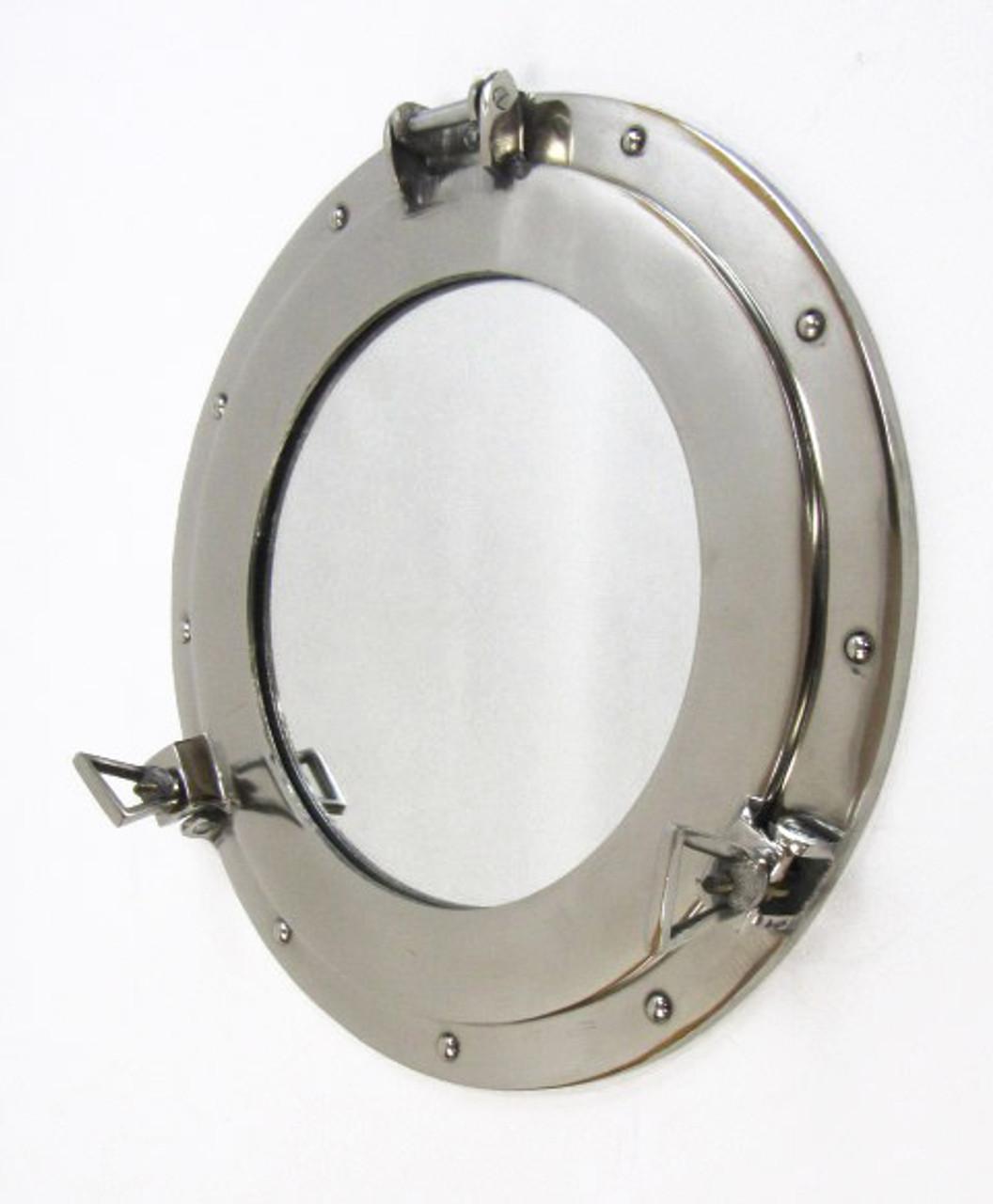 Aluminum Chrome Finish Ships Cabin Porthole Mirror