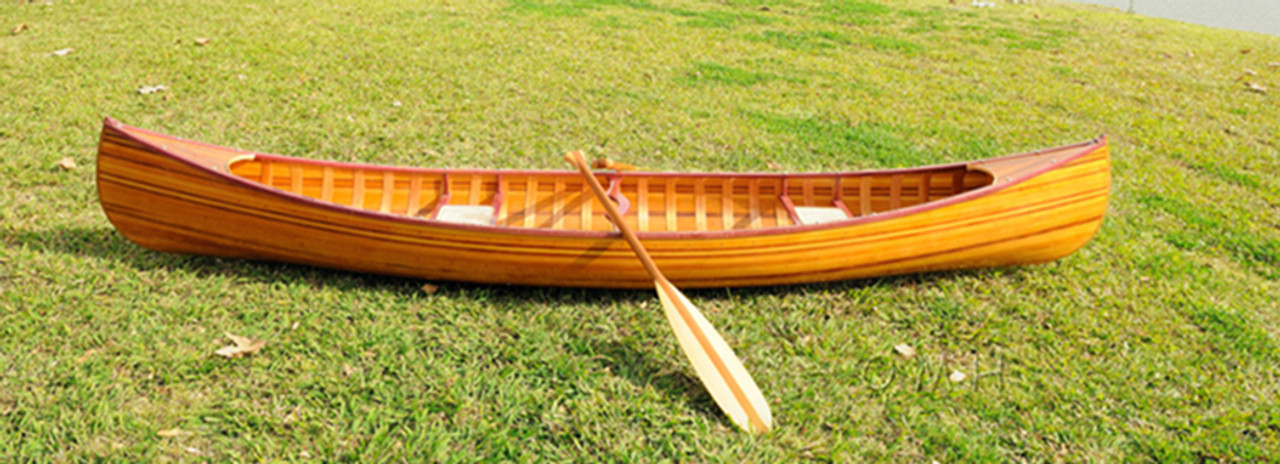 Cedar Strip Built Canoe Wooden Boat