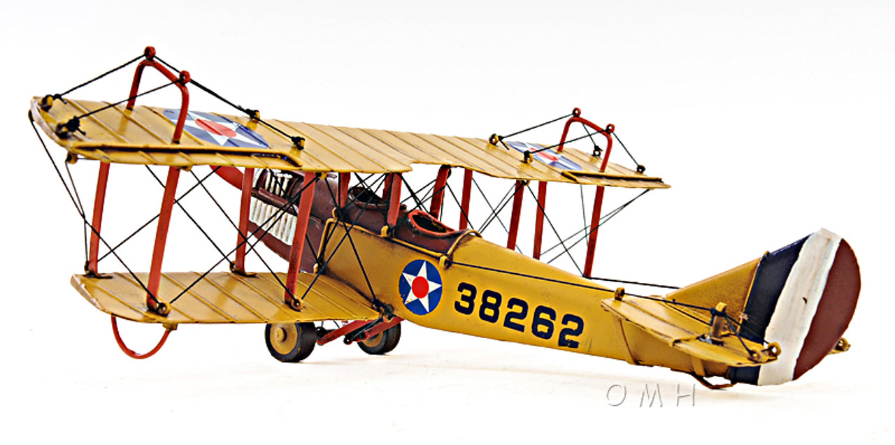 "Curtis JN-4 Jenny Biplane Metal Desk Top Model 11/"" WW1 Airplane Aircraft Decor"