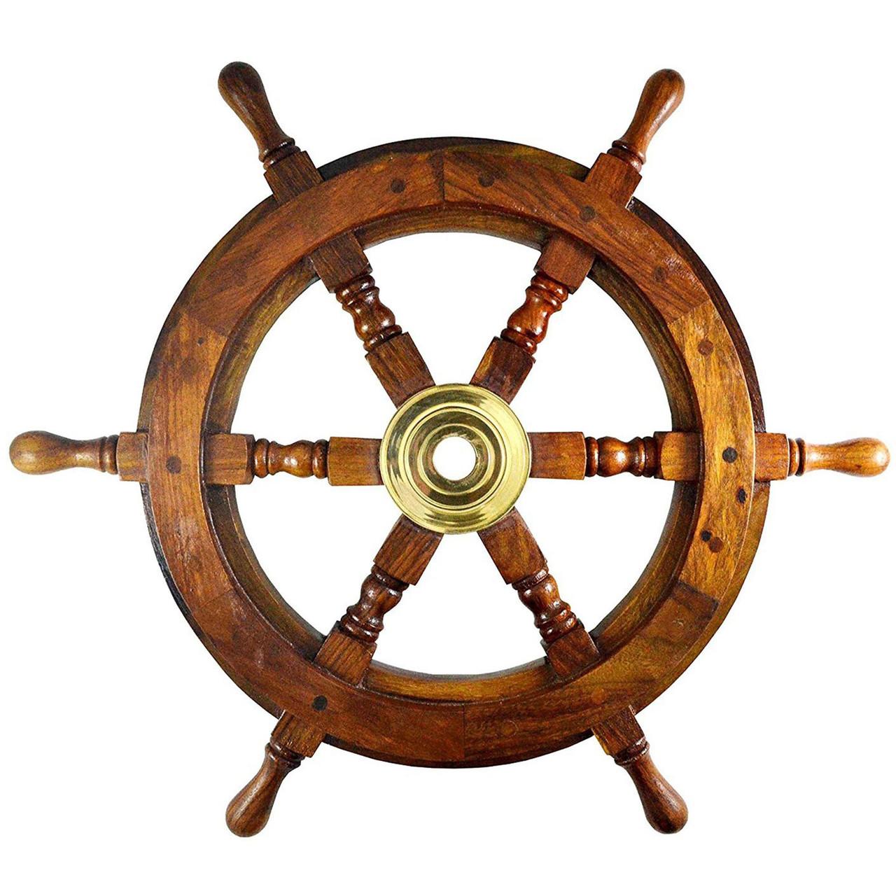Teak Ships Steering Wheel Brass Hub Pirate Wall Decor