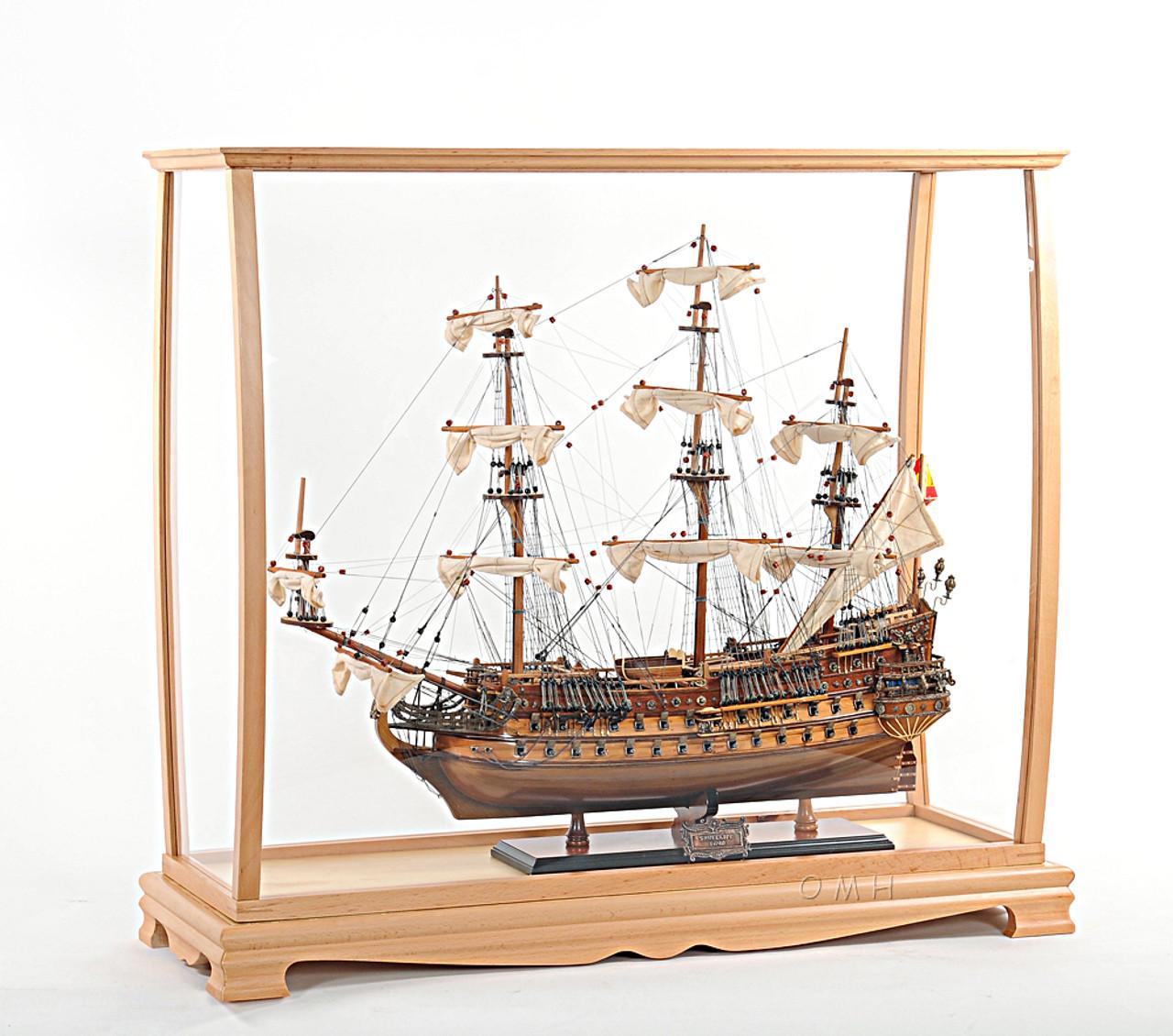Display Case Tall Ship Boat Sailboat Model