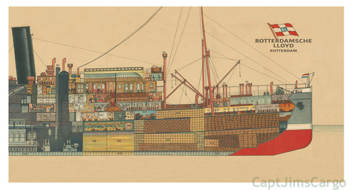Steamer Mailboat Indrapoera Cross Section Giclee Print
