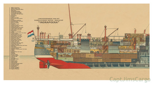 Steamer Mailboat Indrapoera Cross Section Giclee Canvas