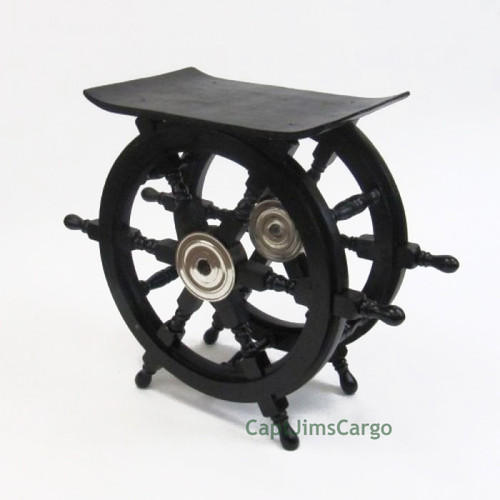 Black Ships Steering Wheel End Table Pirate Decor