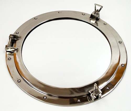 Aluminum Chrome Ships Porthole Mirror Nautical Wall Decor